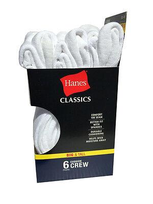 Hanes Men's BIG & TALL 6 paris cushion Crew white socks fit shoe size 12-14 2