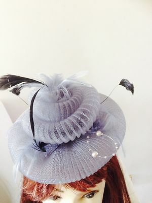 Wedding Races Melbourne Cup Feather Fascinator Hat Headband Cream Black Gray 4