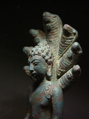 A  RARE BRONZE DVARAVATI NAGA PROTECTED BUDDHA. MON DVARAVATI ART 10th C. 8