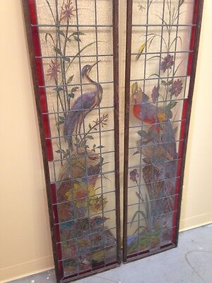 Very Rare French Pair of Painted and Fired Stained Glass Windows Double Sided 8