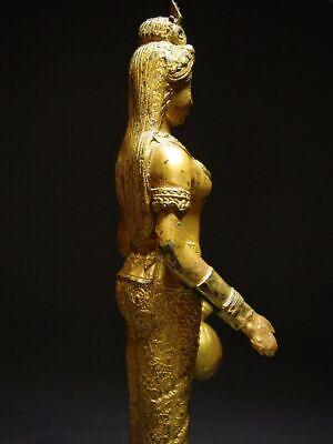 ANTIQUE BRONZE STATUE OF A FEMALE DEVATA, 'NANG KWAK', WEALTH GODDESS. 19/20th C 7