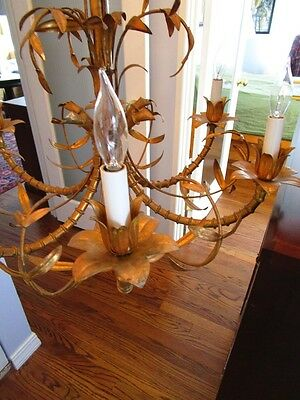 Mid Century Italain Faux Bamboo Gold Gilt on Iron Chinese Regency Chandelier1960 5
