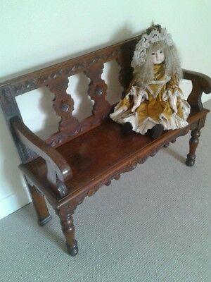 Antique victorian hall bench seat chair monks bench settle reception hall bench 5