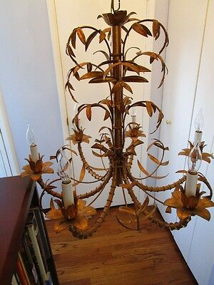 Mid Century Italain Faux Bamboo Gold Gilt on Iron Chinese Regency Chandelier1960 10