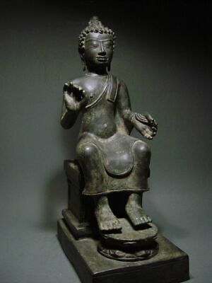 ENTHRONED BRONZE MON DVARAVATI BUDDHA 'EUROPEAN STYLE'. BURMA INFLUENCE 17/18thC 11