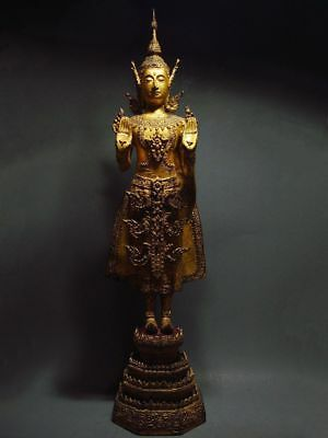 ANTIQUE BRONZE STANDING CROWNED RATTANAKOSIN BUDDHA. TEMPLE RELIC 18/19th C. 2