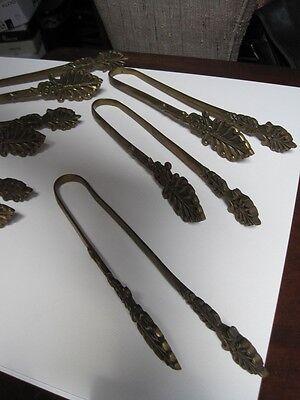 Antique Set of 6 Hand Cast Bronze Tiebacks French Inspired marked Korea c1930 6