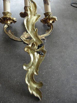 French exquisite ornate patina bronze wall  sconces divine antique old 8
