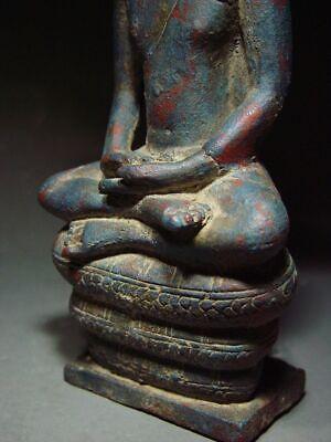 A  RARE BRONZE DVARAVATI NAGA PROTECTED BUDDHA. MON DVARAVATI ART 10th C. 10