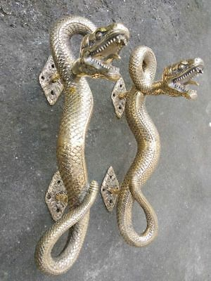 2 SNAKE Python hollow real brass door PULL old style POLISHED pair handle 35cm B 2
