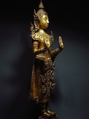 ANTIQUE BRONZE STANDING CROWNED RATTANAKOSIN BUDDHA. TEMPLE RELIC 18/19th C. 10