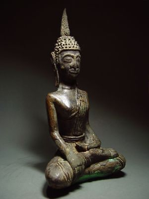 ANTIQUE BRONZE MEDITATING  SAKYAMUNI ' LAN CHANG' BUDDHA, LAOTIAN ART 9/10th C. 8