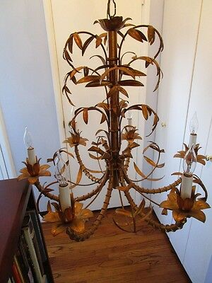 Mid Century Italain Faux Bamboo Gold Gilt on Iron Chinese Regency Chandelier1960 12