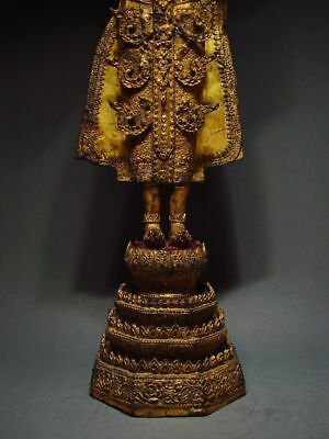 ANTIQUE BRONZE STANDING CROWNED RATTANAKOSIN BUDDHA. TEMPLE RELIC 18/19th C. 4