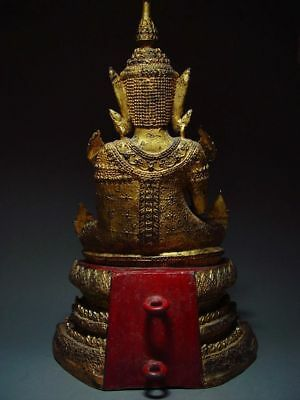 ANTIQUE BRONZE MEDITATING CROWNED RATTANAKOSIN BUDDHA. TEMPLE RELIC 18/19th C 5