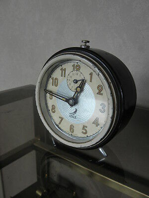 vintage clock alarm jaz retro desk  Art Deco design  Mechanics uhr old french 5
