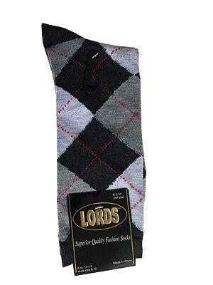 12 Pairs New Cotton Men's Lords Argyle Style Dress Socks Size 10-13 Multi-color 3