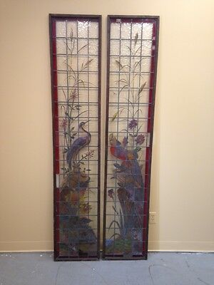 Very Rare French Pair of Painted and Fired Stained Glass Windows Double Sided 7