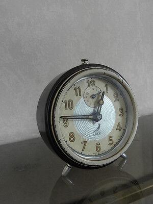 vintage clock alarm jaz retro desk  Art Deco design  Mechanics uhr old french 9
