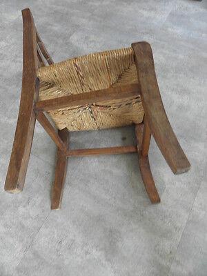 Vintage Chair wood Oak antique Farmhouse Stool Children Bench Seat Kid armchai 4