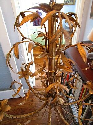 Mid Century Italain Faux Bamboo Gold Gilt on Iron Chinese Regency Chandelier1960 7