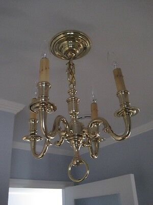 Antique Cast Polished Brass Chandelier 4 Light Scrolled Arms c1920 (2 Available) 11