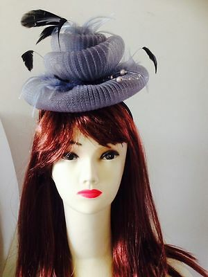 Wedding Races Melbourne Cup Feather Fascinator Hat Headband Cream Black Gray 3
