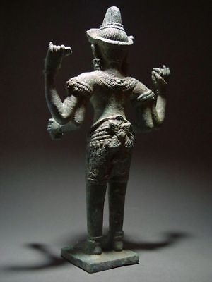 KHMER BRONZE STANDING MULTI-ARM MALE DEITY, ANGKOR WAT 'BAYON' PERIOD. 13th C