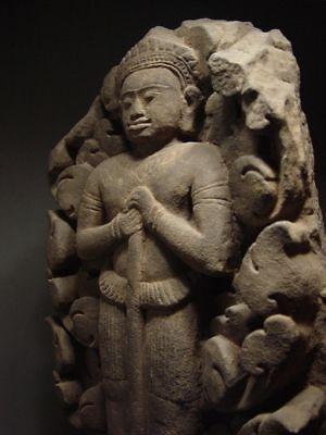 KHMER SANDSTONE BAS RELIEF STONE ELEMENT of VISHNU, ANGKOR 'BAYON' STYLE 13th C. 4