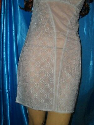 Reizvolles Vintage Mini Perlon Spitzen Unterkleid weiß Pin Up Negligee (B547)