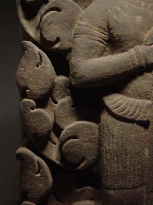 KHMER SANDSTONE BAS RELIEF STONE ELEMENT of VISHNU, ANGKOR 'BAYON' STYLE 13th C. 11