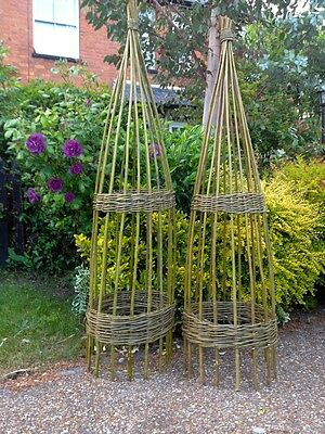 1 Of 7 1.2m PACK Of 2 Willow Garden Obelisk For Climbing Plant Support