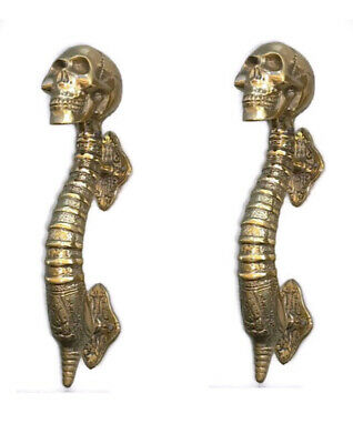 "3 small SKULL head handle DOOR PULL spine natural AGED BRASS old style 8"" B 3"