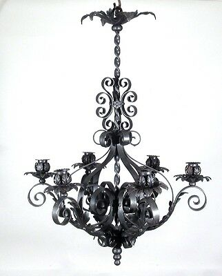 Vintage French Wrought Iron Chandelier Six Lights Mid-20th Century Riviera Style 2