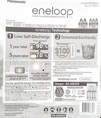 Panasonic Eneloop Recharge Battery Charger + 8 Aa + 4 Aaa Batteries Nimh 2