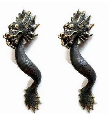 "2 Dragon door pull 30cm aged 100% brass old style house handle 12"" long heavy B 4"