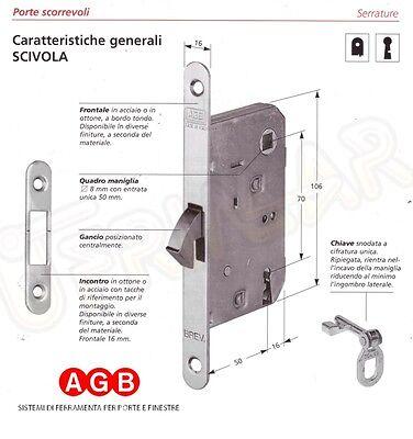 """DORATA o NICHELATA Chiave snodata per serrature a gancio AGB /""""Scivola/"""""""
