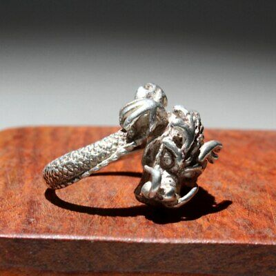 Collectable China Miao Silver Hand-Carved Delicate Dragon Interesting Chic Ring 7