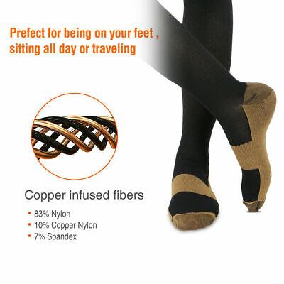 6 Pairs Copper Fit Energy Knee High Compression Socks, SM L/XL XXL Free Ship USA 3
