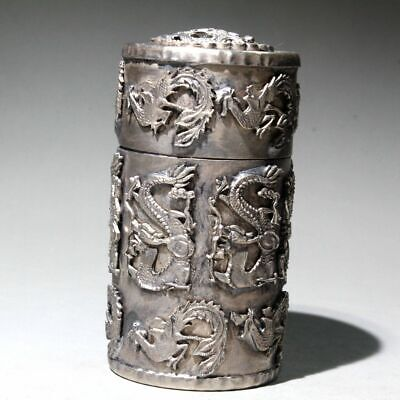 Collectable Chinese Old Miao Silver Hand-Carved Vivid Dragon Noble Toothpick Box 6