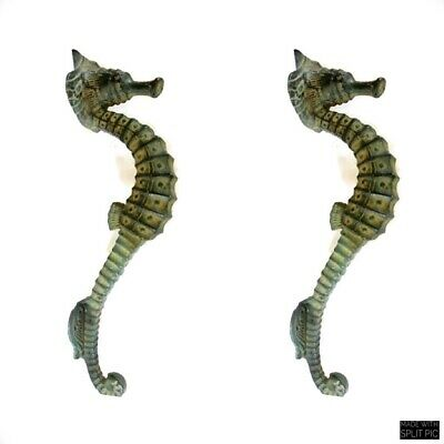 """4 small SEAHORSE PULL handle 27cm brass door aged GREEN old style house  10"""" B 9"""