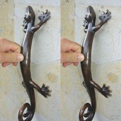 "2 large 14 "" GECKO PULL and  2 small 8"" gecko door handle aged brass hollow B 2"