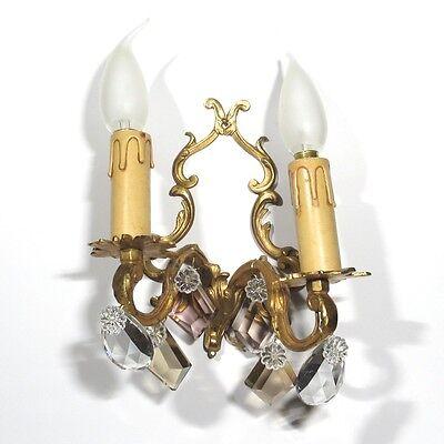 Vintage French Sconce, Pendeloque, Amethyst & Amber Crystal Prisms 4