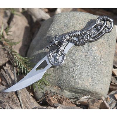 """7"""" Dragon Biker Blade Design Stainless Steel Tactical Folding Pocket Knife 6"""