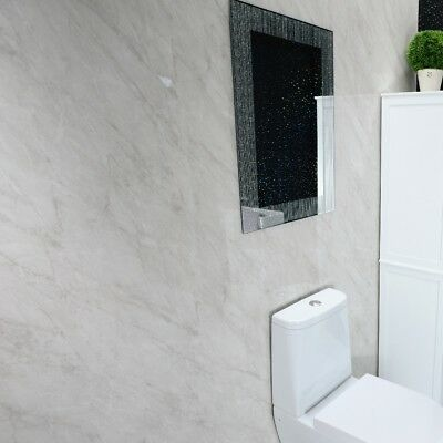 GREY MARBLE BATHROOM Wall Panels Shower Wet Wall PVC Boards Cladding ...