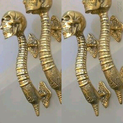 "4 small SKULL head handle DOOR PULL spine natural AGED BRASS old style 8"" B 2"