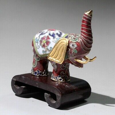 Collectable China Old Cloisonne Hand-Carved Lovely Elephant Bring Lucky Statue 2