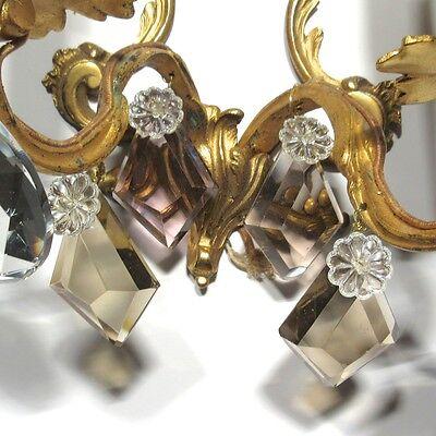 Vintage French Sconce, Pendeloque, Amethyst & Amber Crystal Prisms 9