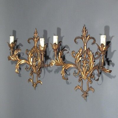 Pair of Vintage French Gilded Tole Sconces, Acanthus Leaves, Riviera Style 2