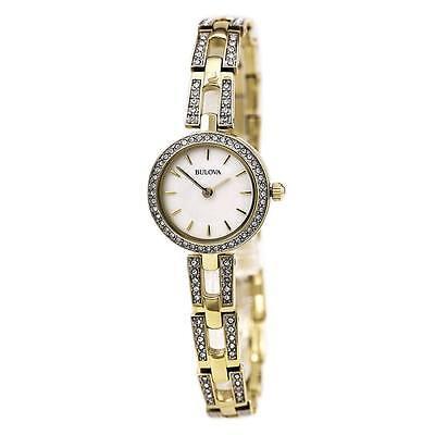 Bulova Women's 98L213 Swarvoski Crystal Accents Quartz Gold Tone 23mm Watch 2